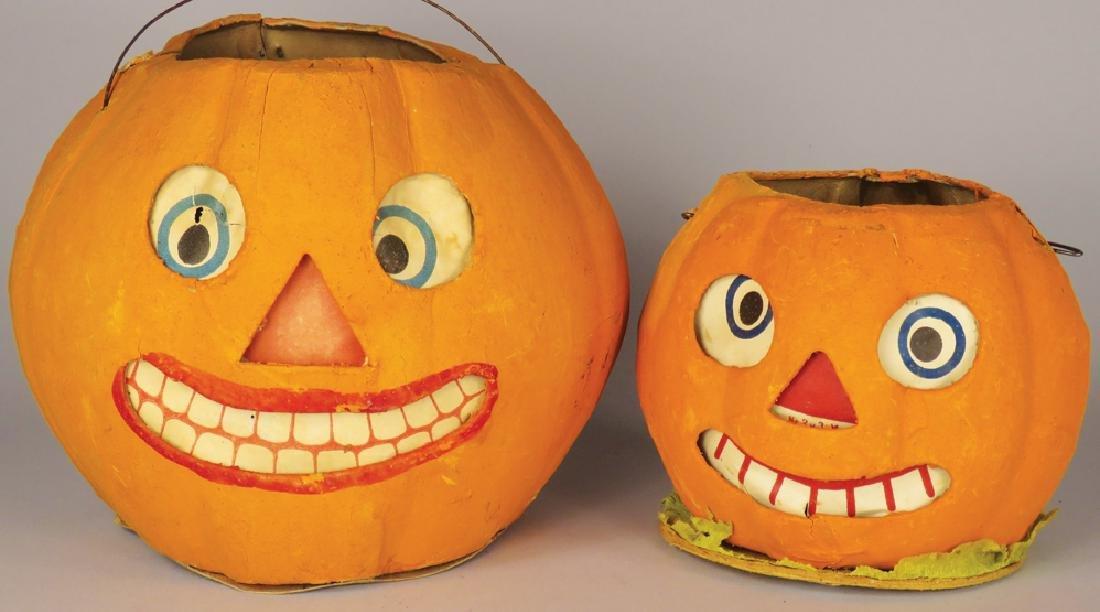 Two Vintage Cardboard Halloween Lanterns