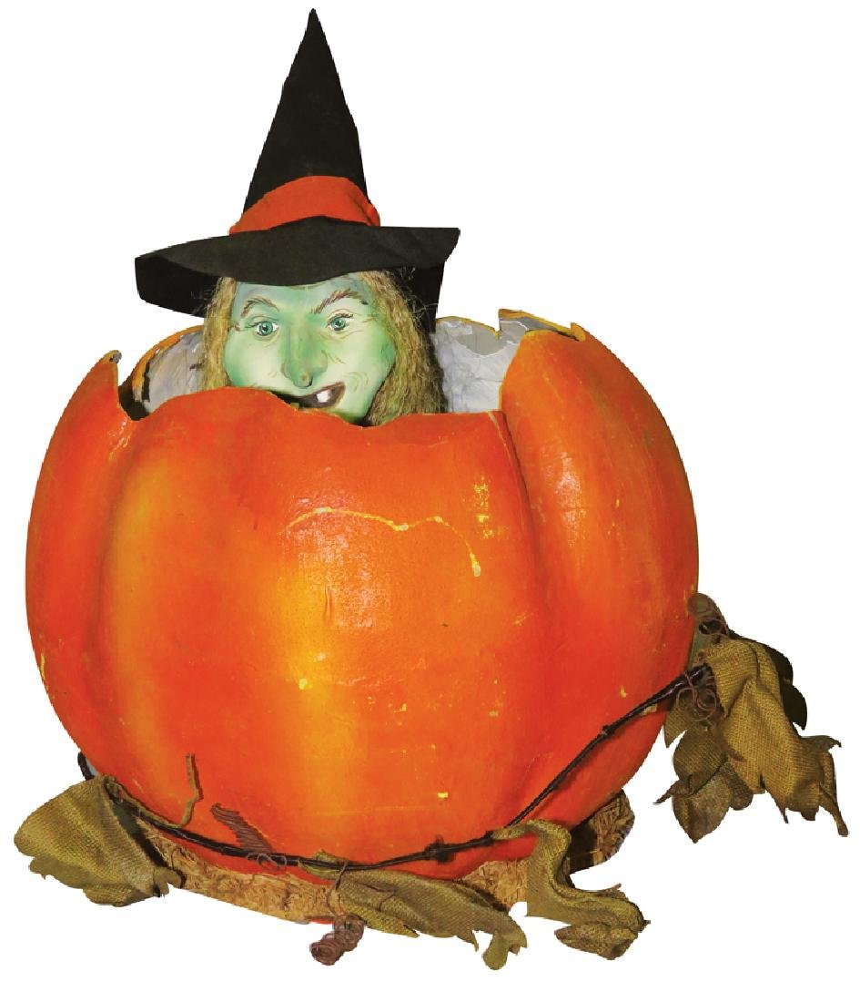 Halloween Automaton Witch in Pumpkin