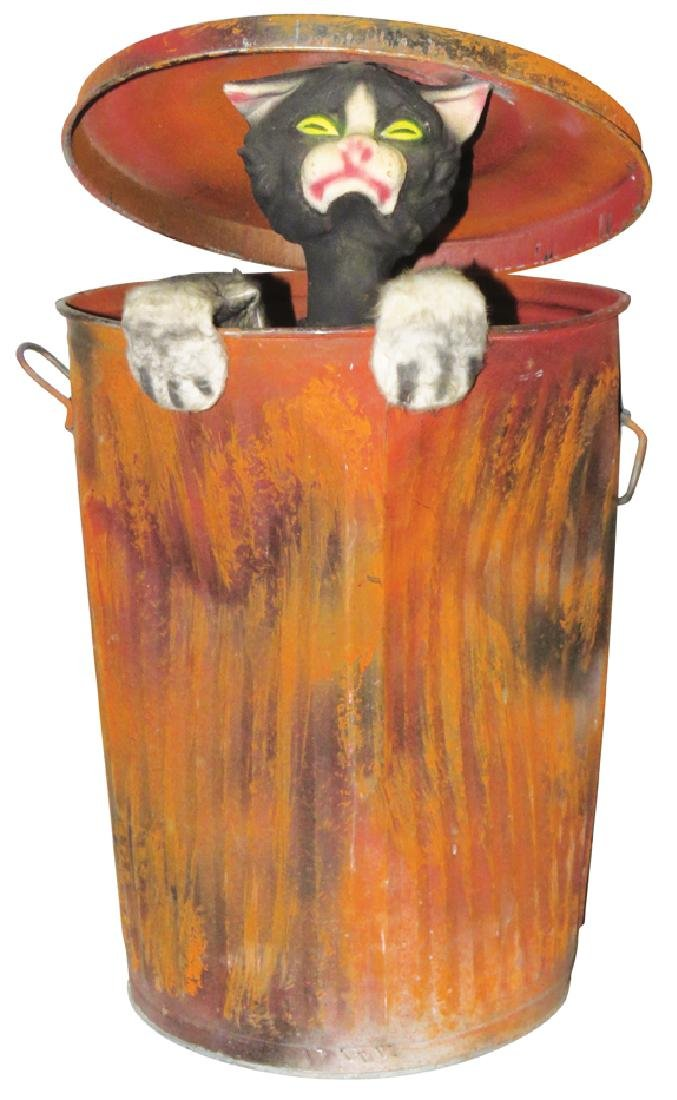 Halloween Automaton Black Cat in Garbage Can