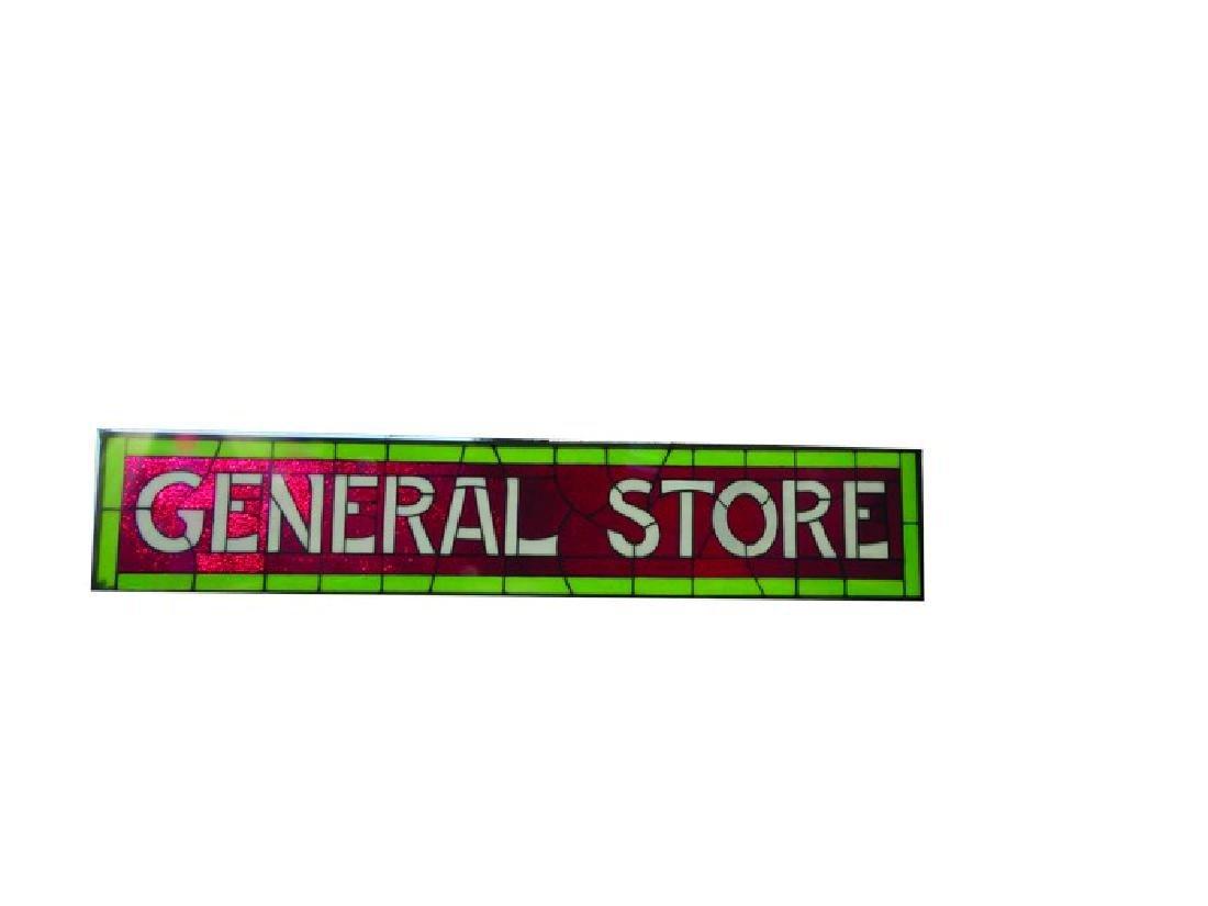General Store Leaded Slag Glass Window