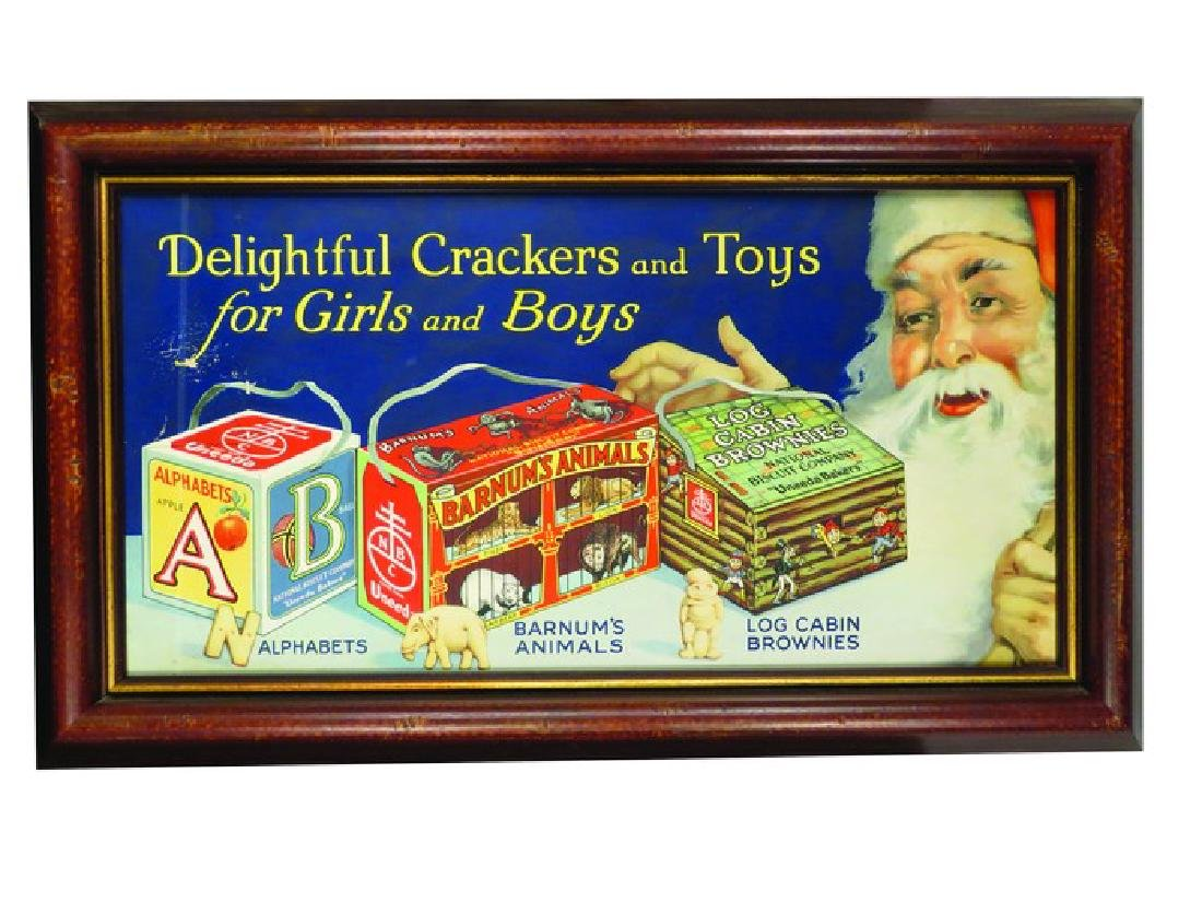 National Biscuit Co. Christmas Trolley Car Sign