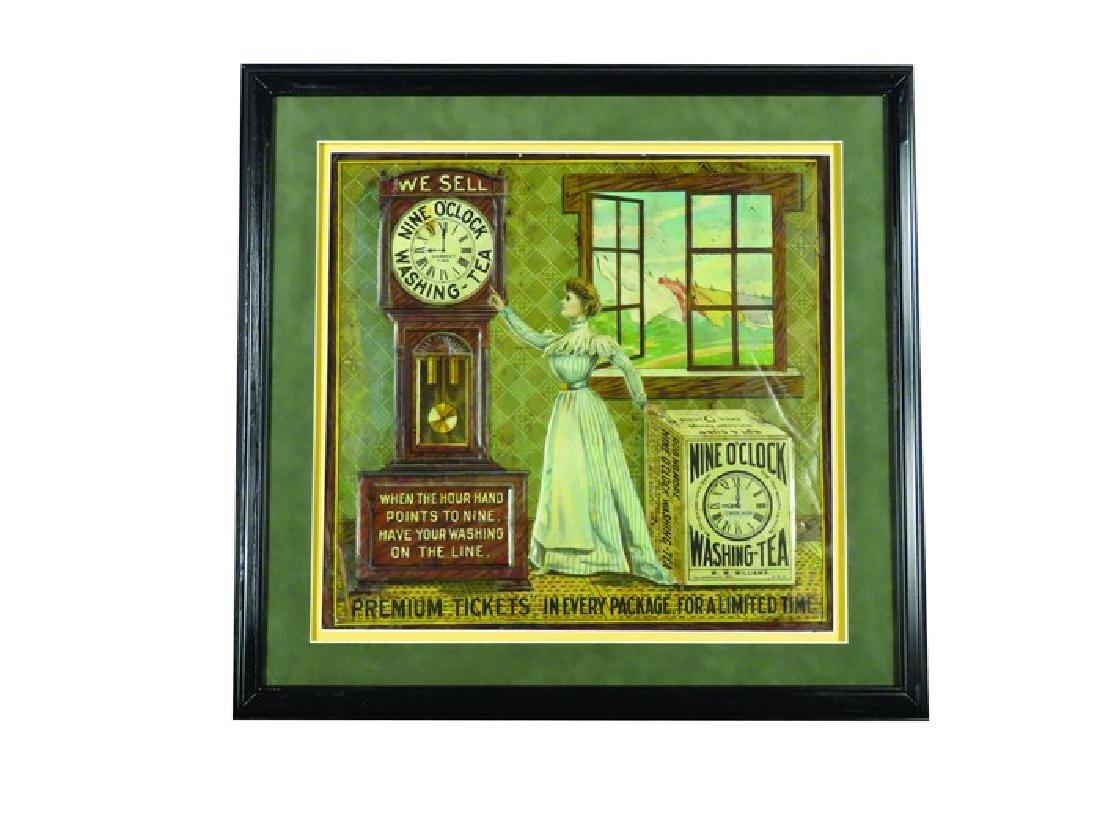 Nine O'Clock Washing Tea Embossed Tin Sign