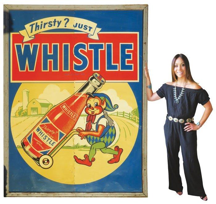 Extremely Rare Oversized Whistle Soda Tin Sign
