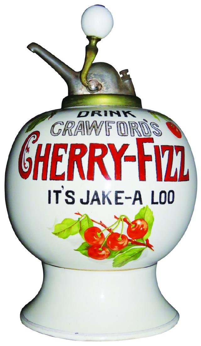 "Drink Crawford's ""Cherry-Fizz"" Syrup Dispenser"