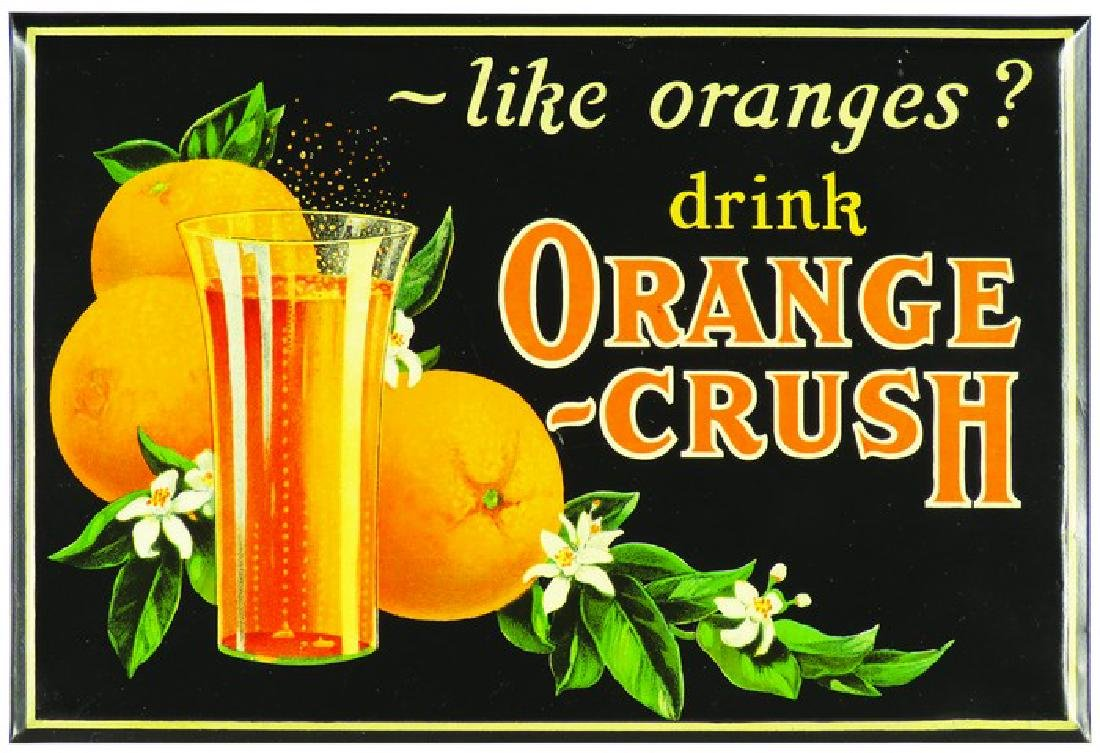 Drink Orange Crush Tin Over Cardboard Sign
