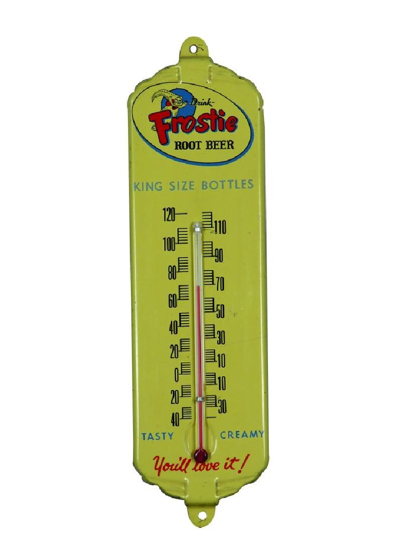 Frostie Root Beer Embossed Tin Thermometer