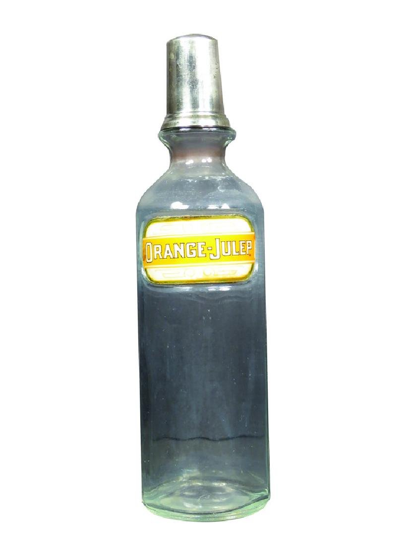 Orange Julep Label Under Glass Syrup Bottle
