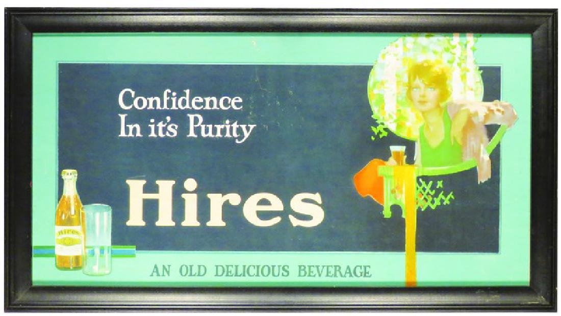 Hires Root Beer Carboard Trolley Car Sign