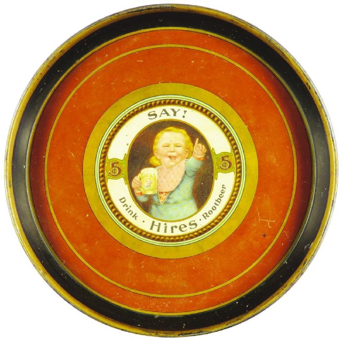 """Hires Root Beer """"Say!"""" Hires Boy Tin Serving Tray"""