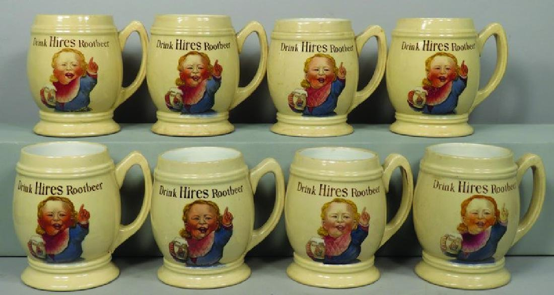 Set of Eight Hires Root Beer Ceramic Mugs
