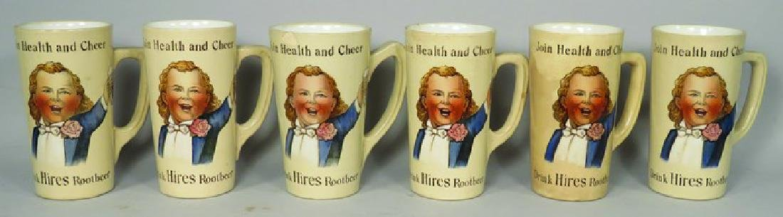 Set of Six Hires Root Beer Porcelain Mugs
