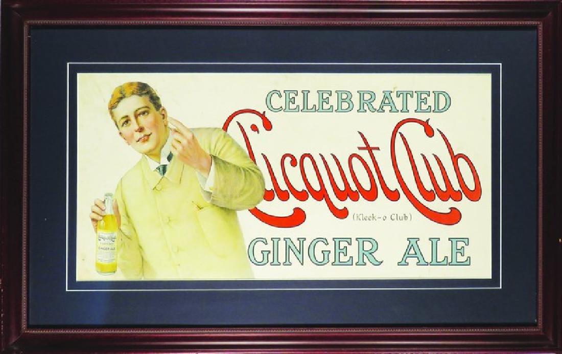 Celebrated Cliquot Ginger Ale Cardboard Sign