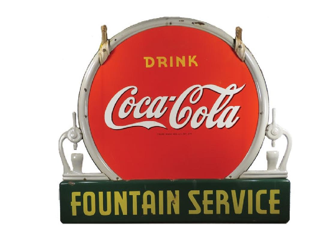 Coca Cola 2 - Sided Fountain Services Porcelain Sign