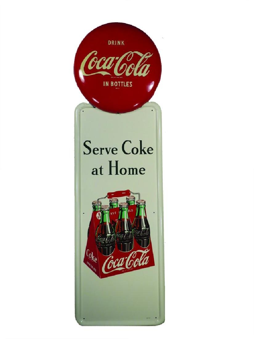 Coca Cola Self Framed Tin Sign with Button Top