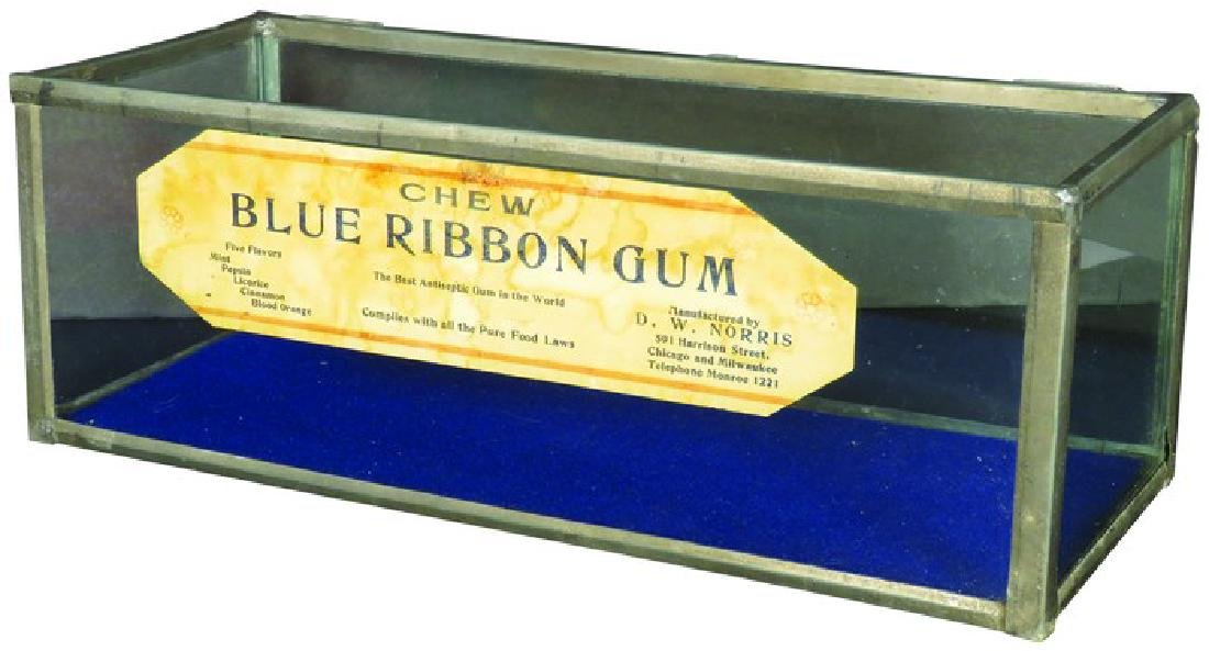 Blue Ribbon Chewing Gum tin & glass store display