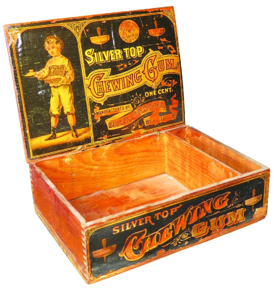 Silver Top Chewing Gum Wood Store Display Box
