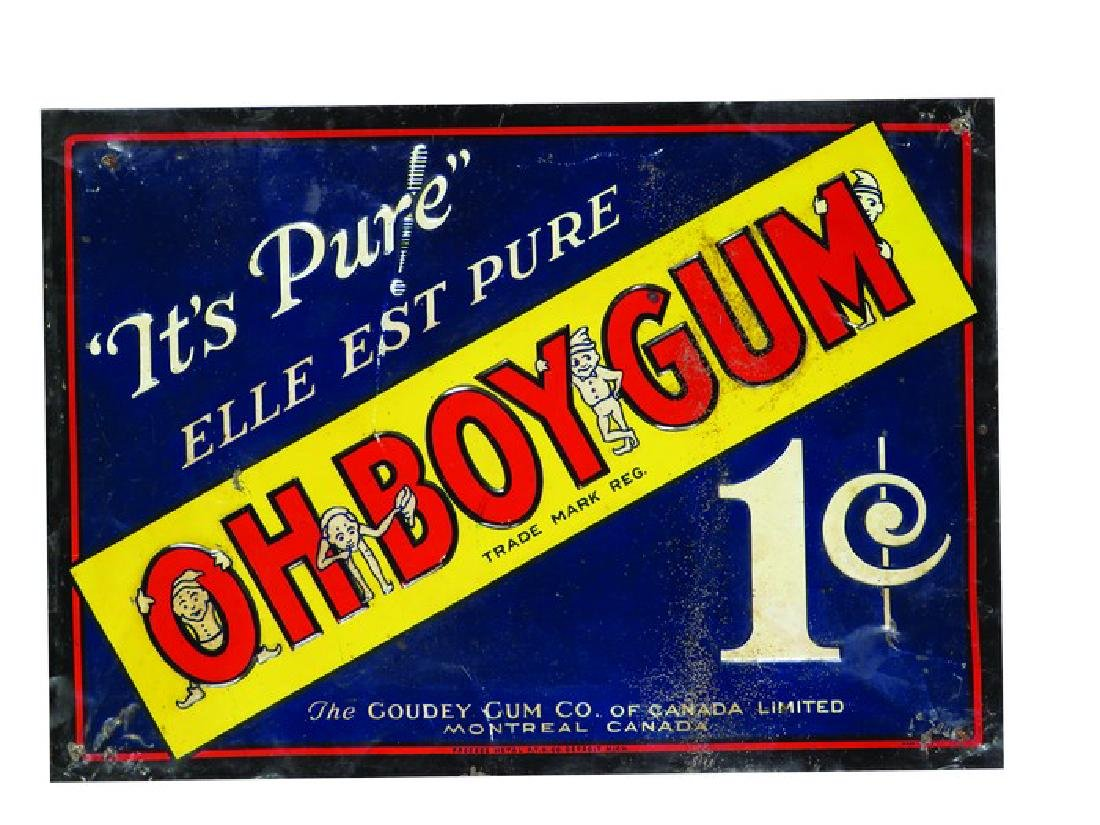 Oh Boy Gum Tin Sign