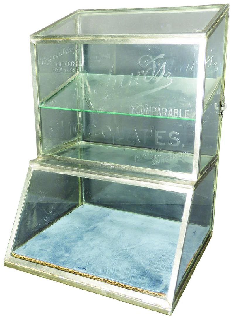 Luchard's Chocolates Etched Glass Display Case