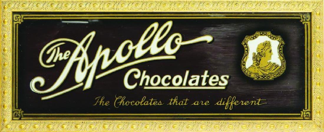 Apollo Chocolates Reverse Glass Sign