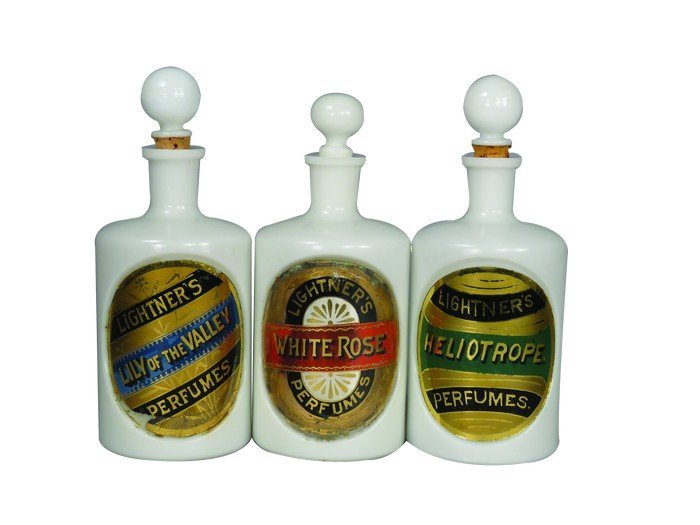 3 Lightner's Perfume Glass Label Milk Glass Bottles