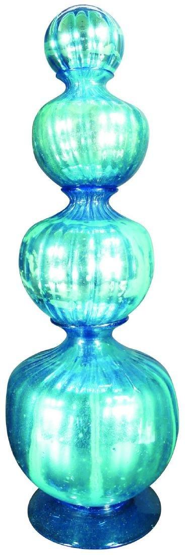 Rare Blue Mercury Glass Four Tier Show Globe