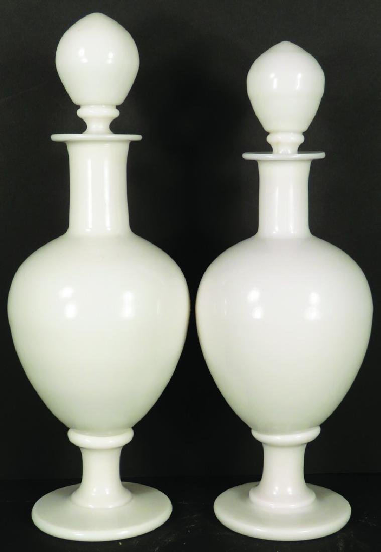 Pair of White Opaline Milk Glass Apothecary Jars