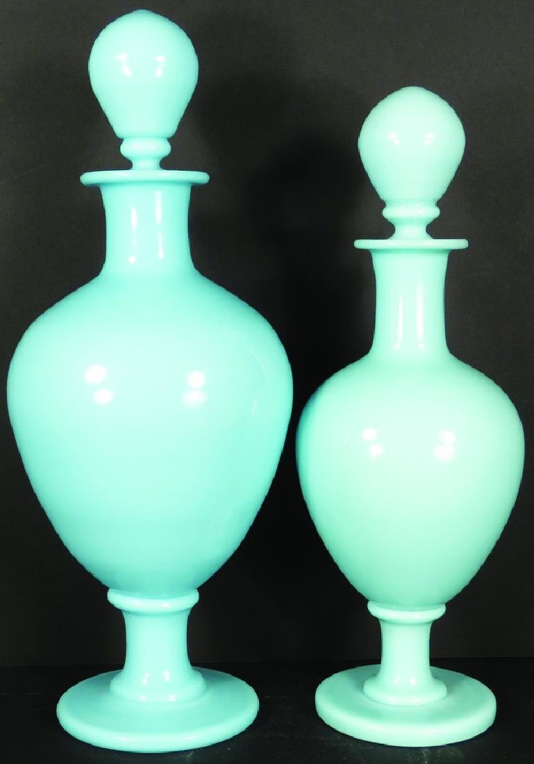 Pair of Blue Opaline Milk Glass Apothecary Jars
