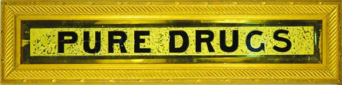 Pure Drugs Reverse Glass Sign