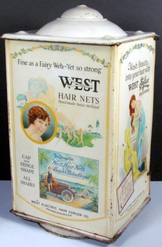 West Hairnets Tin Store Display