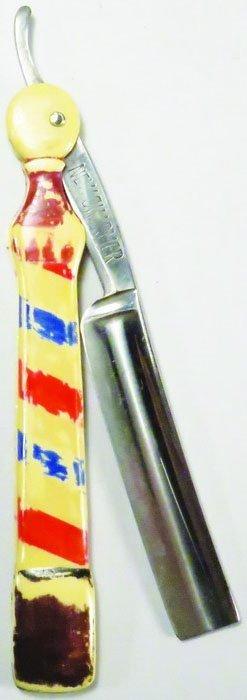 Extremely Rare Barber Pole Straight Razor