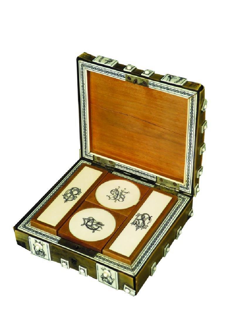 Antique Scrimshaw Gambling Marker & Chip Box
