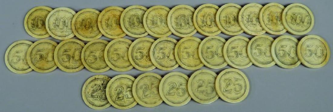 Lot of 31 Antique Scrimshawed Poker Chips
