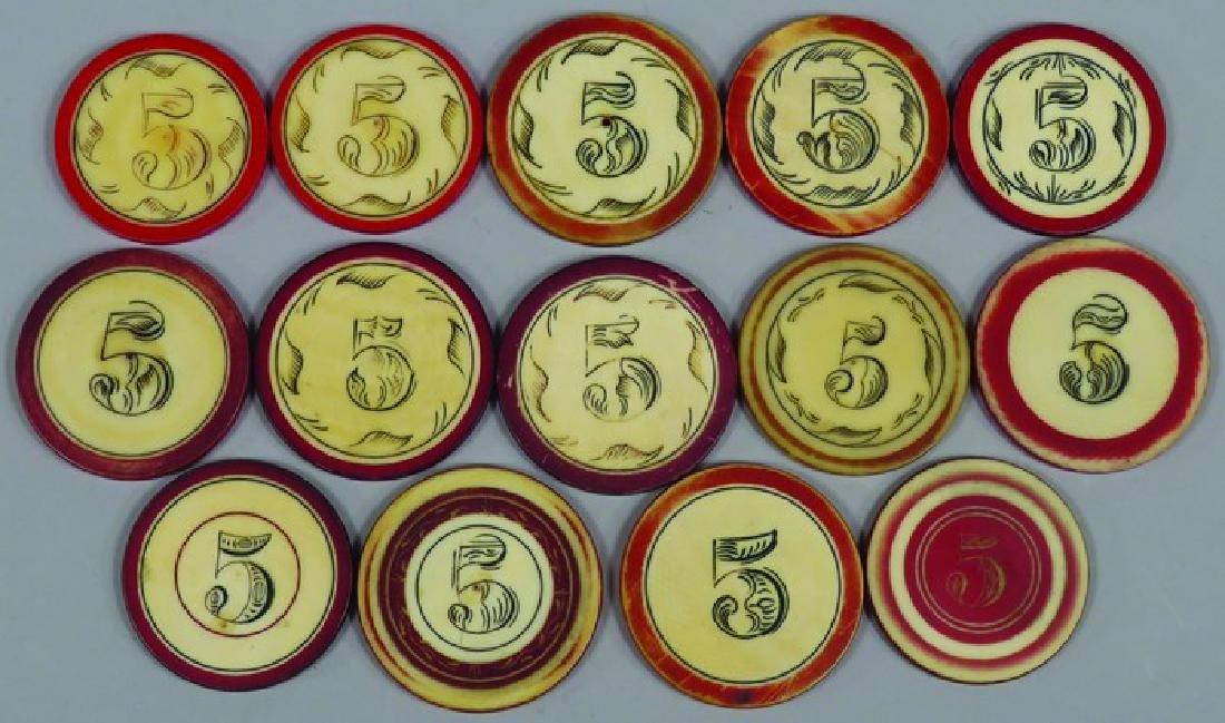 Lot of 14 Antique Scrimshawed Poker Chips