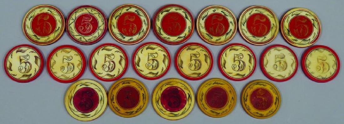 Lot of 20 Antique Scrimshawed Poker Chips