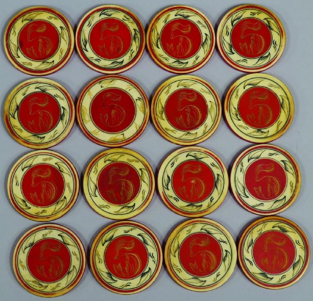 Lot of 16 Antique Scrimshawed Poker Chips