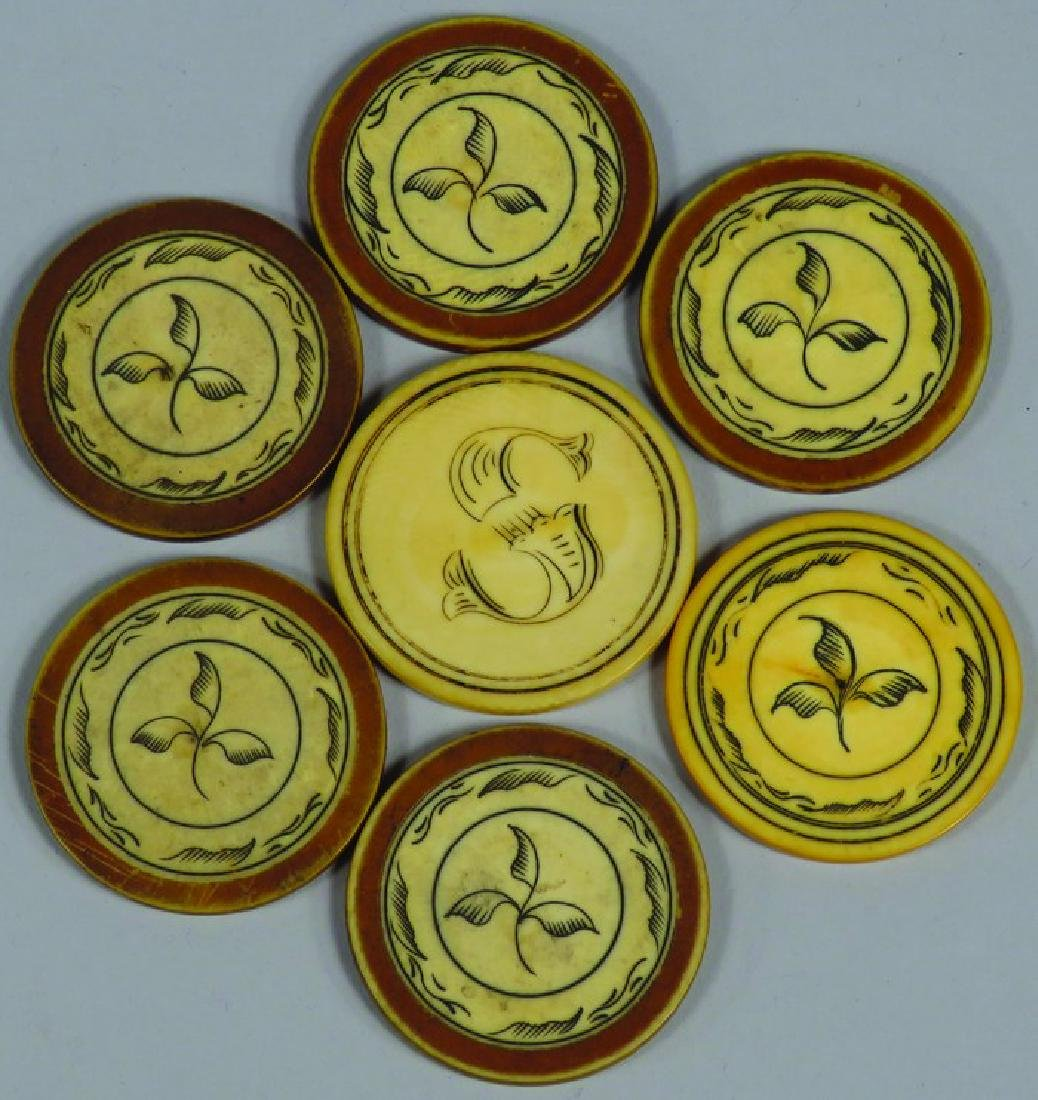Lot of 7 Antique  Scrimshawed Poker Chips