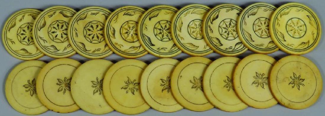 Lot of 18 Anitque Scrimshawed Poker Chips