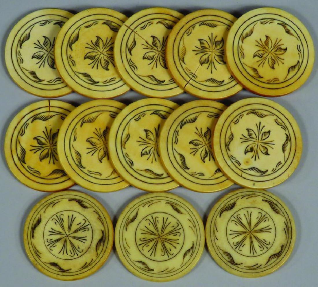 Lot of 13 Anitque Scrimshawed Poker Chips