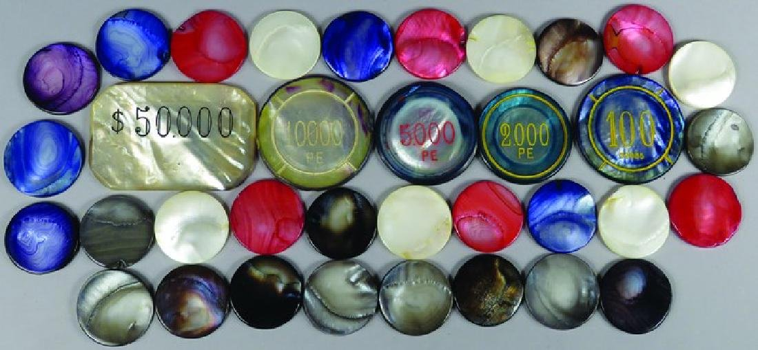 Lot of Various Mother of Pearl Markers & Chips