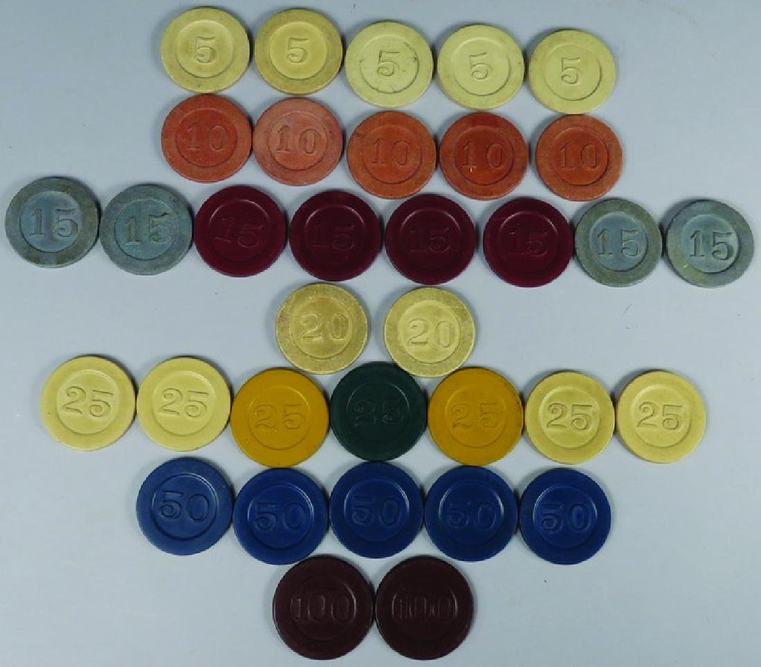 Lot of 34 Vintage Embossed Clay Poker Chips