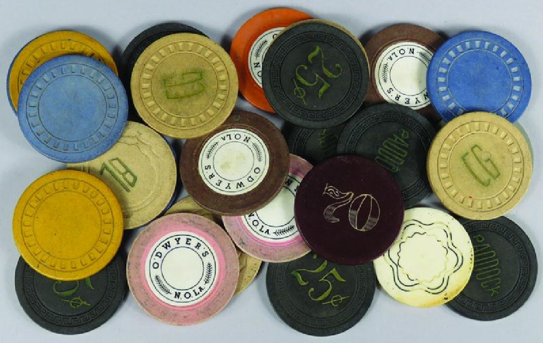 Lot of 26 Vintage Clay Poker Chips