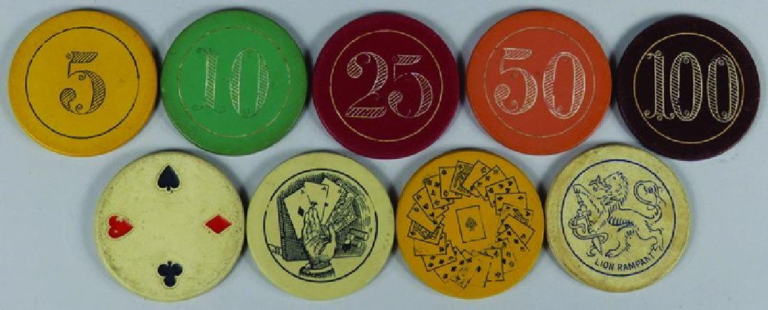 Lot of 9 Vintage Carved Clay Poker Chips