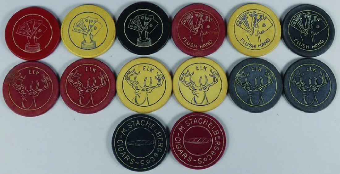 Lot of 14 Vintage Carved Clay Poker Chips