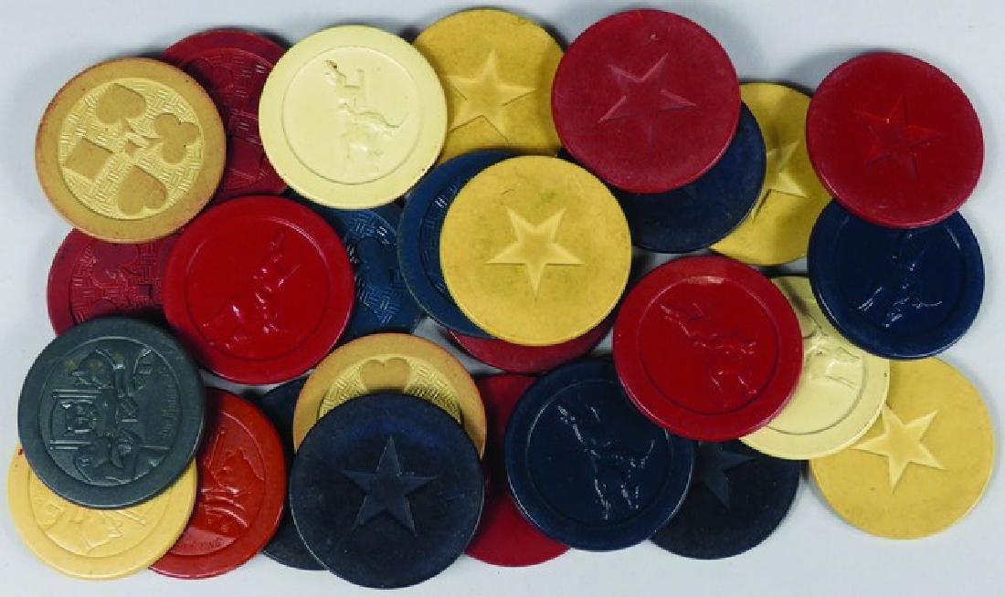 Lot of 27 Vintage Embossed Clay Poker Chips