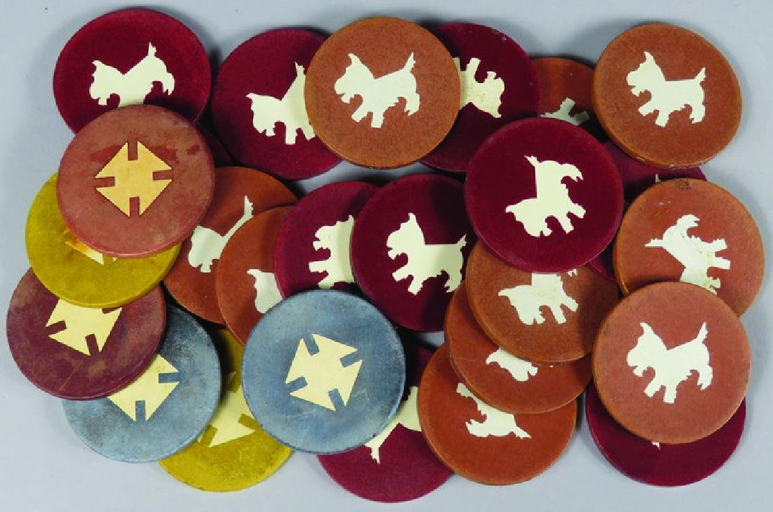 Lot of 26 Vintage Inlaid Clay Poker Chips