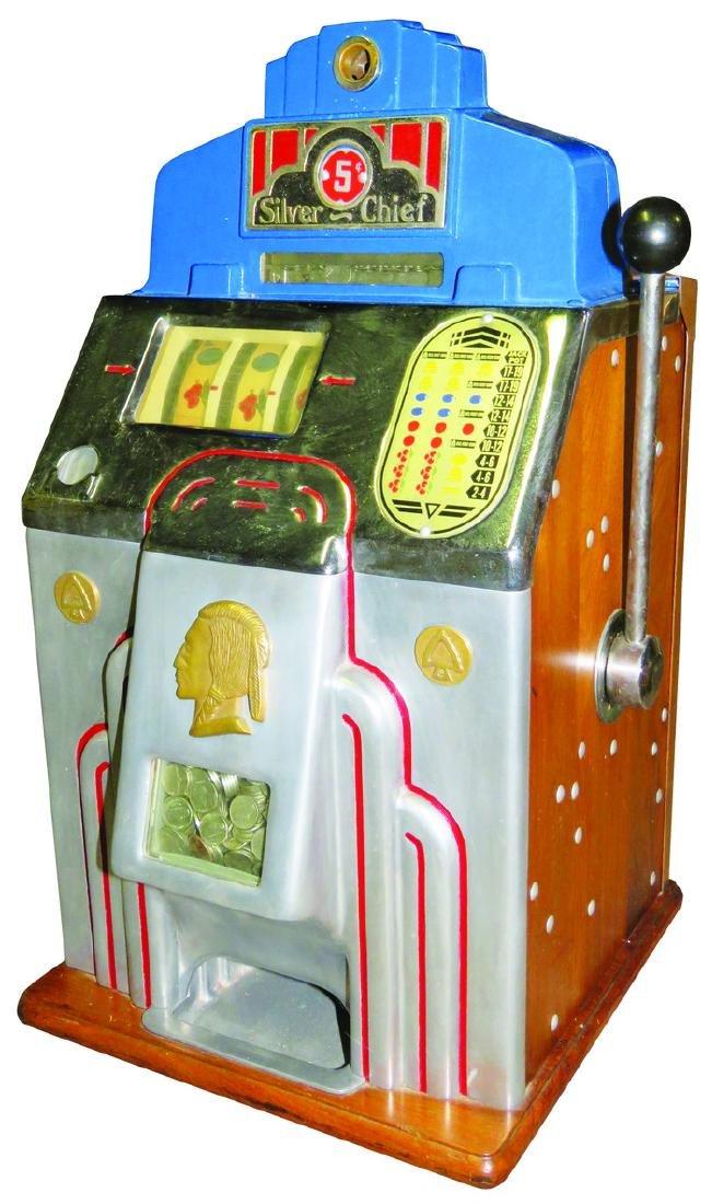 Jennings's 5 Cent Silver Chief Slot Machine