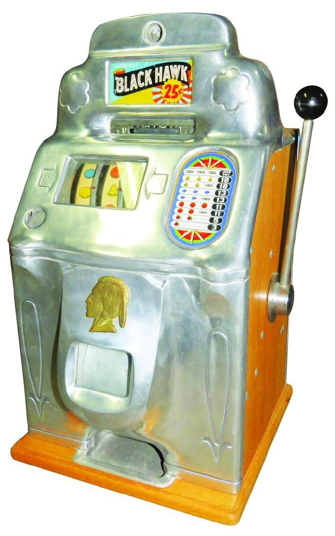 Jennings 25 Cent Black Hawk 3 Reel Slot Machine
