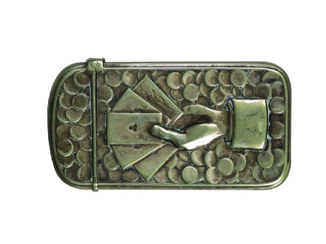 Gambling Motif Nickel Plated Brass Match Safe
