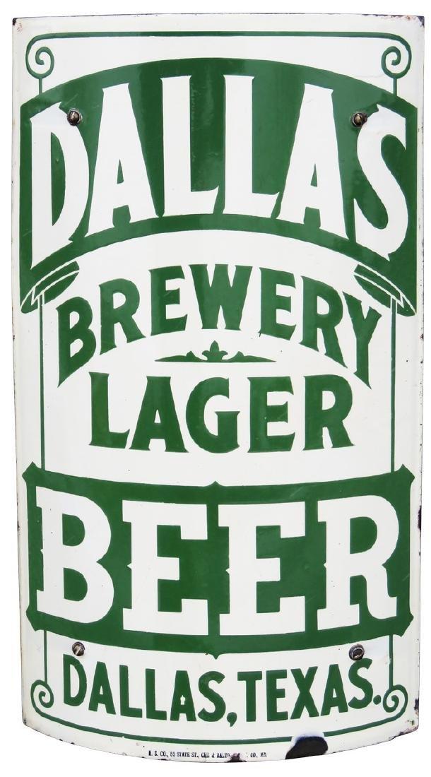 Rare Dallas Brewery Lager Corner Porcelain Sign