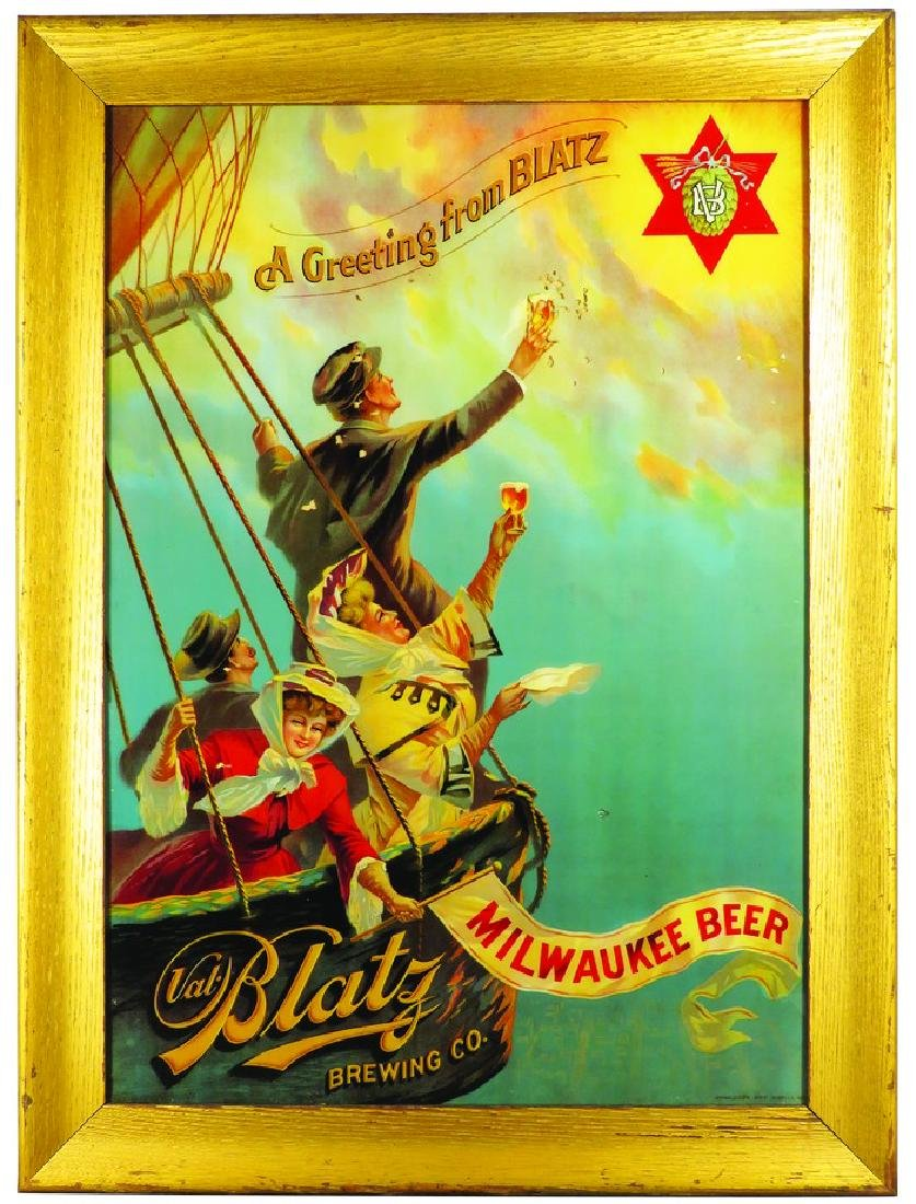 Extremely Rare Blatz Litho on Reverse Glass Sign